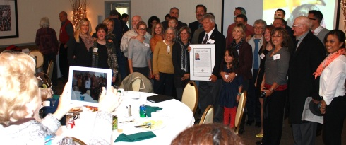 "Friends and family surround ""Legs"" Labbe after his induction into the MPA Hall of Fame. St. John Valley Times photo / Tessie Dubois"